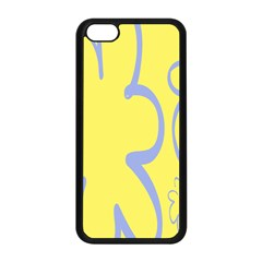 Doodle Shapes Large Flower Floral Grey Yellow Apple Iphone 5c Seamless Case (black) by Alisyart