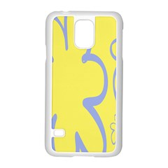 Doodle Shapes Large Flower Floral Grey Yellow Samsung Galaxy S5 Case (white)