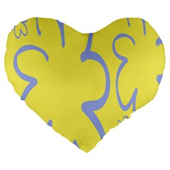 Doodle Shapes Large Flower Floral Grey Yellow Large 19  Premium Flano Heart Shape Cushions by Alisyart