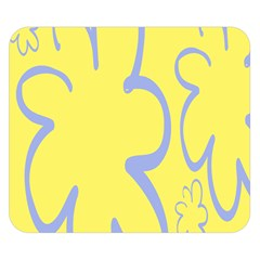 Doodle Shapes Large Flower Floral Grey Yellow Double Sided Flano Blanket (small)  by Alisyart
