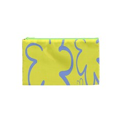 Doodle Shapes Large Flower Floral Grey Yellow Cosmetic Bag (xs) by Alisyart