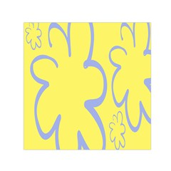 Doodle Shapes Large Flower Floral Grey Yellow Small Satin Scarf (square)