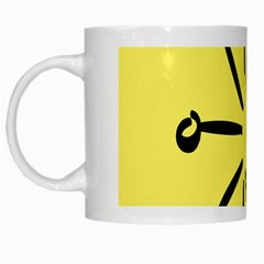Doodle Shapes Large Line Circle Black Yellow White Mugs by Alisyart