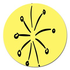 Doodle Shapes Large Line Circle Black Yellow Magnet 5  (round) by Alisyart