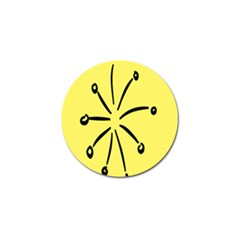 Doodle Shapes Large Line Circle Black Yellow Golf Ball Marker by Alisyart