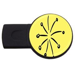 Doodle Shapes Large Line Circle Black Yellow Usb Flash Drive Round (2 Gb) by Alisyart