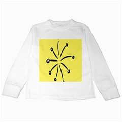 Doodle Shapes Large Line Circle Black Yellow Kids Long Sleeve T Shirts