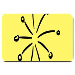 Doodle Shapes Large Line Circle Black Yellow Large Doormat