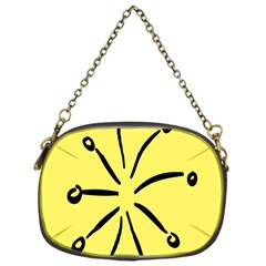Doodle Shapes Large Line Circle Black Yellow Chain Purses (one Side)  by Alisyart