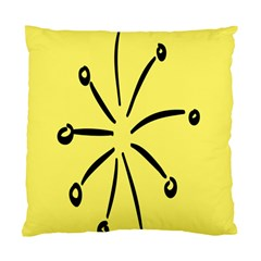 Doodle Shapes Large Line Circle Black Yellow Standard Cushion Case (two Sides)