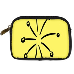 Doodle Shapes Large Line Circle Black Yellow Digital Camera Cases