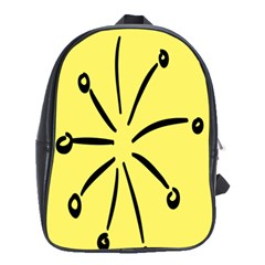 Doodle Shapes Large Line Circle Black Yellow School Bags(large)  by Alisyart