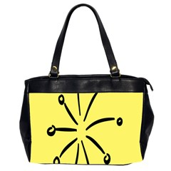 Doodle Shapes Large Line Circle Black Yellow Office Handbags (2 Sides)  by Alisyart