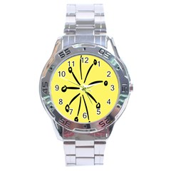 Doodle Shapes Large Line Circle Black Yellow Stainless Steel Analogue Watch