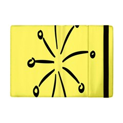 Doodle Shapes Large Line Circle Black Yellow Apple Ipad Mini Flip Case by Alisyart