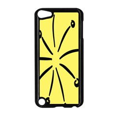 Doodle Shapes Large Line Circle Black Yellow Apple Ipod Touch 5 Case (black) by Alisyart