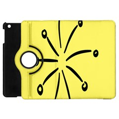 Doodle Shapes Large Line Circle Black Yellow Apple Ipad Mini Flip 360 Case by Alisyart