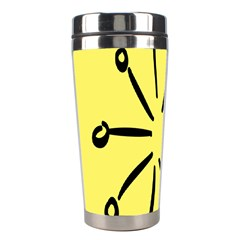 Doodle Shapes Large Line Circle Black Yellow Stainless Steel Travel Tumblers by Alisyart