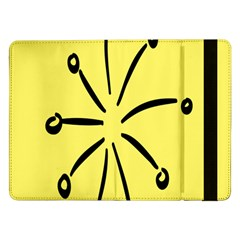Doodle Shapes Large Line Circle Black Yellow Samsung Galaxy Tab Pro 12 2  Flip Case by Alisyart