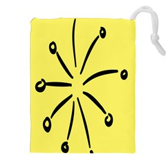 Doodle Shapes Large Line Circle Black Yellow Drawstring Pouches (xxl) by Alisyart