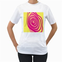 Doodle Shapes Large Line Circle Pink Red Yellow Women s T Shirt (white) (two Sided)