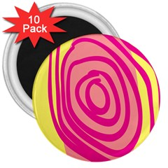 Doodle Shapes Large Line Circle Pink Red Yellow 3  Magnets (10 Pack)