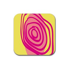 Doodle Shapes Large Line Circle Pink Red Yellow Rubber Coaster (square)