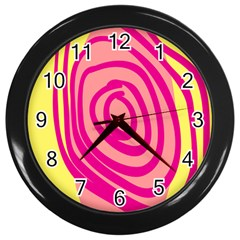 Doodle Shapes Large Line Circle Pink Red Yellow Wall Clocks (black)