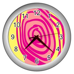 Doodle Shapes Large Line Circle Pink Red Yellow Wall Clocks (silver)