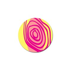 Doodle Shapes Large Line Circle Pink Red Yellow Golf Ball Marker by Alisyart