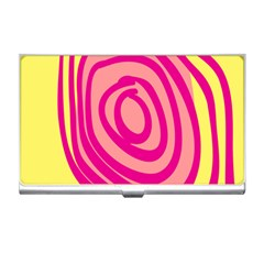 Doodle Shapes Large Line Circle Pink Red Yellow Business Card Holders by Alisyart