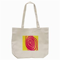 Doodle Shapes Large Line Circle Pink Red Yellow Tote Bag (cream)