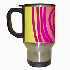 Doodle Shapes Large Line Circle Pink Red Yellow Travel Mugs (white)