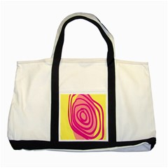 Doodle Shapes Large Line Circle Pink Red Yellow Two Tone Tote Bag by Alisyart