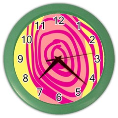 Doodle Shapes Large Line Circle Pink Red Yellow Color Wall Clocks by Alisyart
