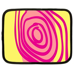 Doodle Shapes Large Line Circle Pink Red Yellow Netbook Case (large) by Alisyart