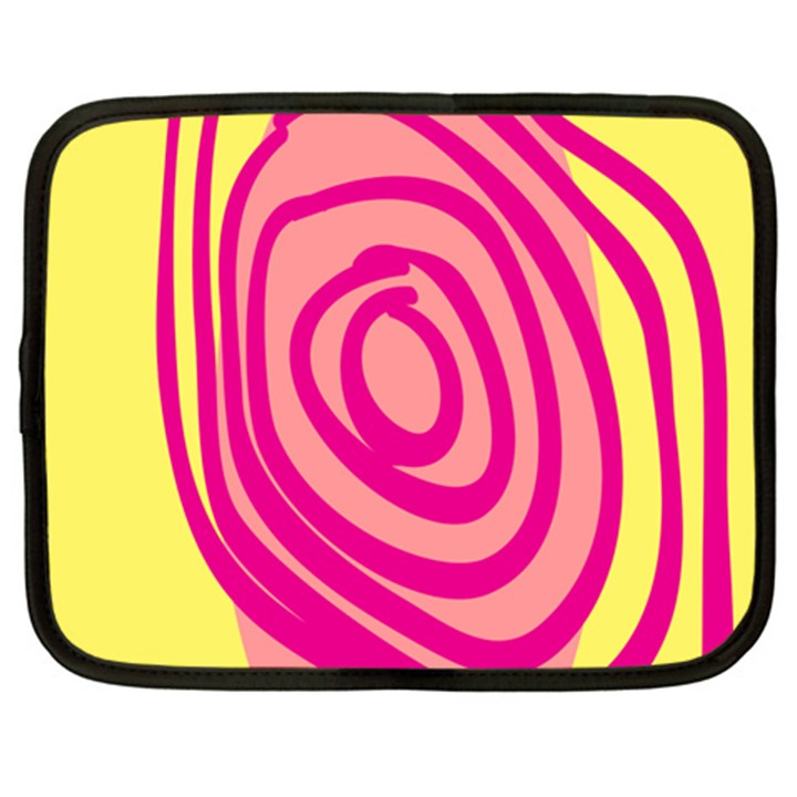 Doodle Shapes Large Line Circle Pink Red Yellow Netbook Case (XXL)