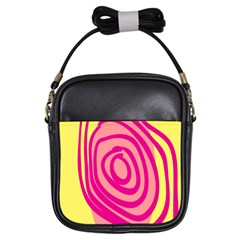 Doodle Shapes Large Line Circle Pink Red Yellow Girls Sling Bags by Alisyart
