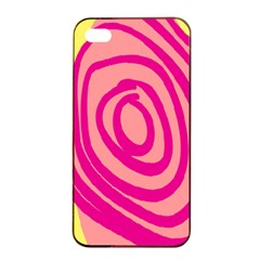 Doodle Shapes Large Line Circle Pink Red Yellow Apple Iphone 4/4s Seamless Case (black) by Alisyart