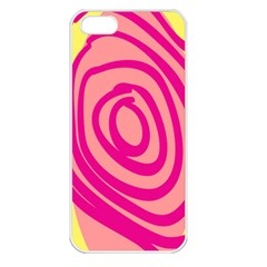 Doodle Shapes Large Line Circle Pink Red Yellow Apple Iphone 5 Seamless Case (white)