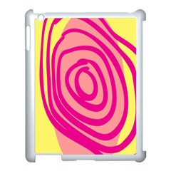 Doodle Shapes Large Line Circle Pink Red Yellow Apple Ipad 3/4 Case (white)