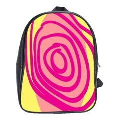 Doodle Shapes Large Line Circle Pink Red Yellow School Bags (xl)