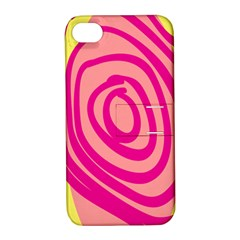 Doodle Shapes Large Line Circle Pink Red Yellow Apple Iphone 4/4s Hardshell Case With Stand by Alisyart