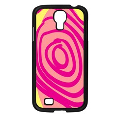 Doodle Shapes Large Line Circle Pink Red Yellow Samsung Galaxy S4 I9500/ I9505 Case (black)