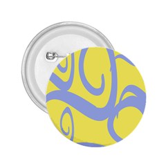 Doodle Shapes Large Waves Grey Yellow Chevron 2 25  Buttons