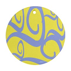 Doodle Shapes Large Waves Grey Yellow Chevron Ornament (round)