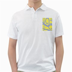 Doodle Shapes Large Waves Grey Yellow Chevron Golf Shirts by Alisyart