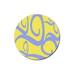 Doodle Shapes Large Waves Grey Yellow Chevron Rubber Round Coaster (4 Pack)  by Alisyart
