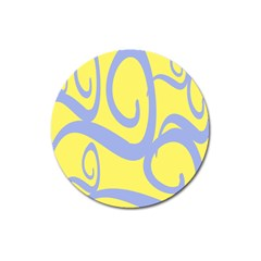 Doodle Shapes Large Waves Grey Yellow Chevron Magnet 3  (round) by Alisyart