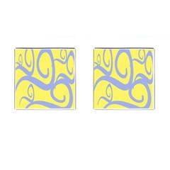 Doodle Shapes Large Waves Grey Yellow Chevron Cufflinks (square)